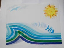 2015 newest 3dprinting sun and seafish pvc/pp plastic placemat