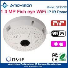 Amovision P2P 1.3MP QP130W wifi pan tilt zoom POE onvif 360 IR internal speaker wifi surveillance fisheye camera