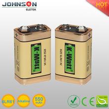 high capacity and high quality 9 v 6lr61 named K-WATT best alkaline battery brand