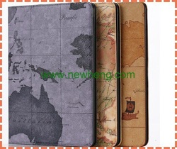 Map Pattern Leather Case for ipad air 2 with Credit Card Slots