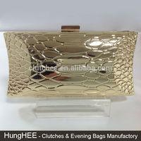 Fashion Full Metal Shell Clutch Purses Gold Metal Evening Bags