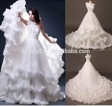 Luxury Wedding dress 2015 Beaded A-line One-Shoulder Sleeveless Gauze Feather plus size Wedding dress gown bridal dress BN12