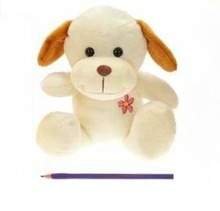 20cm chest embroidery a flower beige dog plush toy