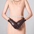 Guantes drapeados de cuero de marrón de ovejas con arco de moda para mujeres