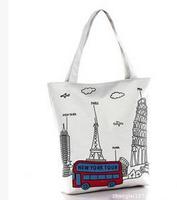 Alibaba supplier nice Eiffel Tower canvas handbag high quality women fancy handbag