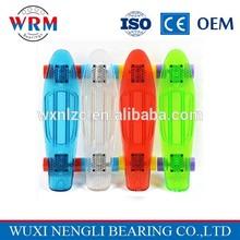 High performance transparent plastic longboard with ABEC7 bearing 22'' mini cruisers skateboard
