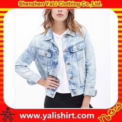 New design best quality cotton long sleeve light blue fitness fancy half jean jackets