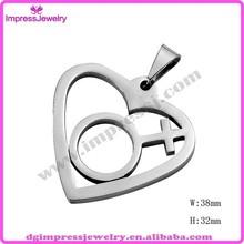 IJD2173 custom laser cut stainless steel Transgender Pendant