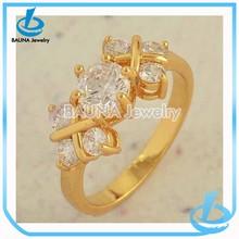 Wedding jewelry custom design filled gold diamond trending gold zircon ring