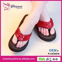 Fashion Black sequins women model sandal wedge high heel wedge ladies sandals sexy thong slide sandal