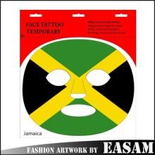 Jamaica flag design temporary tattoo sticker/body face tattoo/circle tattoo