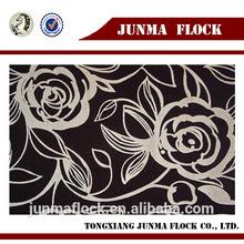 polyester coffee rose flower pattern flocked fabric silk dress arabic
