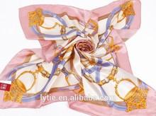 High quality digital print yellow heat transfer printed scarf as gift 2013