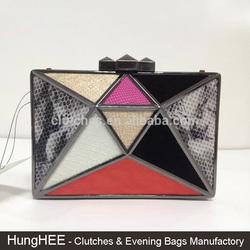 Colorful PU Leather Luxury Ladies Elegant Box Clutch Metallic Evening Bags