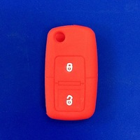 2015 High quality silicone car key case for vw 3 button key cover in navy blue for silicone key case