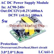 AC DC Power Supply Module ac 90-240v to dual output dc 12v 400mA / dc5v 100mA 5W
