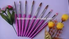 Hot sale Pure Purple Metal handle Different size 8 pcs/set nail art brush pen Round Kolinsky Hair nail art brush sets