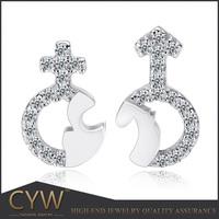 CYW Popular aaa+ CZ Stone Diamond Women 925 sterling silver Couples Stud Earring