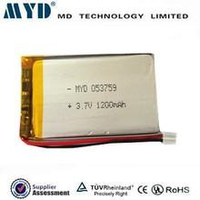 MYD 1200mah lipo battery 3.7v with size OEM