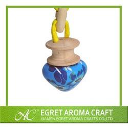 Factory price heart shape hanging glass bottle with soft ceramic car air freshener bottle