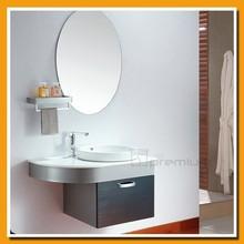 Micro-stone top/Oval mirror/Semi-recessed sink/Stainless steel bathroom vanity set SP-6105