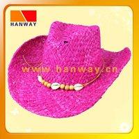 raffia straw purple cowboy hat with beads for trim