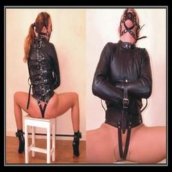 Womens black straight jacket faux leather strict/bondage sexy dress/ bondage gear/sex toy adult product