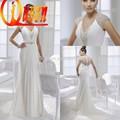 2015 الخامس-- الرقبة نمط الشاطئ الأقمشة المطرزة الديكور الثقيلة الشيفون الأبيض لفستان الزفاف