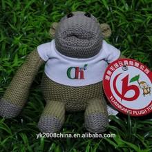 knitted monkey with custom logo,stuffed knitted momkey,soft knitted monkey.