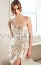2015 Sexy One Shoulder Beaded Lace Mini Real Pictures Of Cocktail Dress CD07