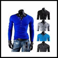 wholesale cheap korea style fashion V-neck slim casual men long sleeve t-shirt