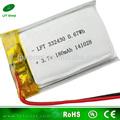 332430 de polímero de litio de la batería 3.7v 180 mah li-ion de la célula de la batería