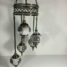 2015 NEW Desigh Handicraft Mosaic Art Turkish Lamps Made in China Chandelier 5 balls set up (CC5M01)