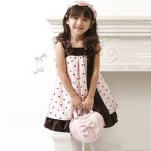 2015 Baby Girl's Polka Dot With Bow Sleeveless Sling Princess Birthday Dress For Baby Girl 19885