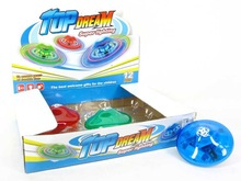 New items kids funny musical top toy, 12 in 1 Plastic light up spinning top with 3 colors DG006569