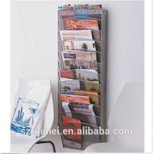 12 Pocket Magazine Rack Mesh Chrome Design Wall File