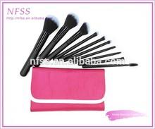 Fashion brush factory cosmetic brush 10pcs fade grey make up brushes red cosmtic bag