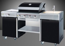 cheaper powder coating stainless steel outdoor kitchen with sink (CE)