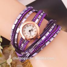 2015 New fashion wrap around bracelet watch crystal rhinestone long leather women wrist quartz watches dress watch