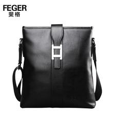 FEGER new black business style leather mens shoulder bag for sale