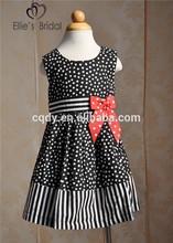 2015 new dark blue wave point dress for children girls korea style dress for kids cotton summer wear frock design children