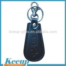 Custom promotional item mens engraved black leather key chain
