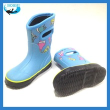 best quality neoprene top kids boots sale Neoprene lining rubber shoes for children