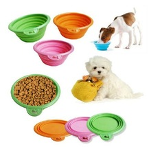 Pet Dog Cat Fashion Silicone Collapsible Feeding Water Feeder Travel Bowl dish