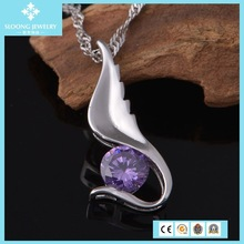 Trendy Special Costume 925 Sterling Silver Long Chain Amethyst Necklace Jewelery