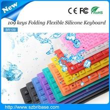 Waterproof 109Keys Multi-color Foldable silicone bluetooth keyboard