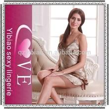 2015 high quality mature women babydoll sleepwear pure silk lingerie