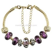 gold plated fashin snake chain bracelets , murano glass bracelets with silver single core glass beads