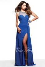 SL-022092 Fashion A-line Beaded Halter Front Slit Blue Chiffon Prom Dress