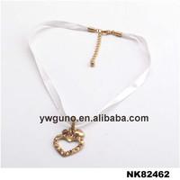 Ribbon Necklace Gold Heart Pendant Fashion Accessories 2015
